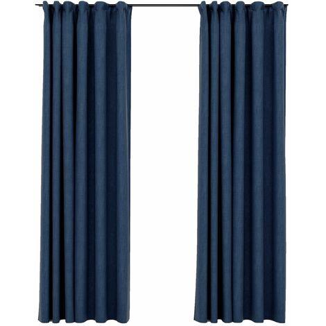vidaXL Linen-Look Blackout Curtains with Hooks 2 pcs Blue 140x245 cm - Blue