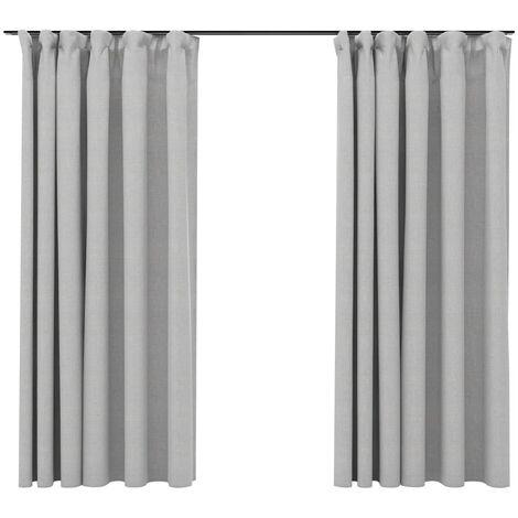vidaXL Linen-Look Blackout Curtains with Hooks 2 pcs Grey 140x175 cm - Grey