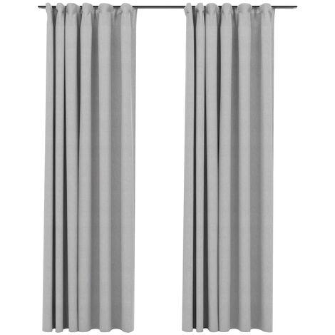 vidaXL Linen-Look Blackout Curtains with Hooks 2 pcs Grey 140x245 cm - Grey