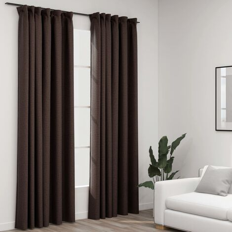vidaXL Linen-Look Blackout Curtains with Hooks 2 pcs Taupe 140x225 cm - Taupe