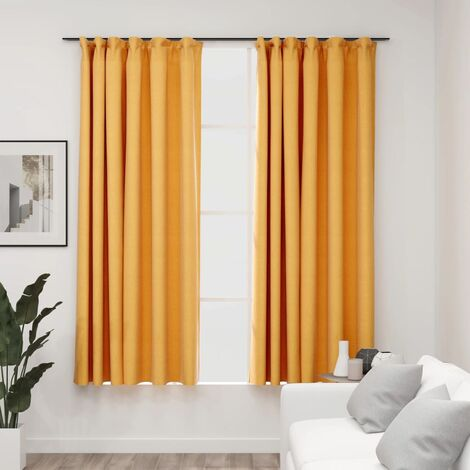 vidaXL Linen-Look Blackout Curtains with Hooks 2 pcs Yellow 140x175 cm - Yellow