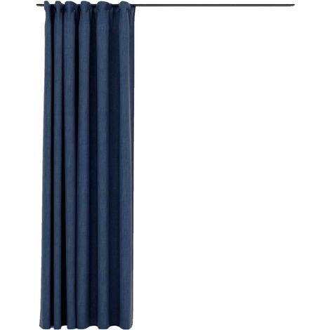 vidaXL Linen-Look Blackout Curtains with Hooks Blue 290x245 cm - Blue