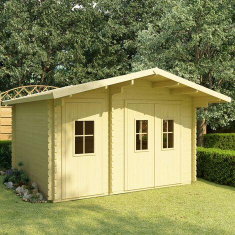 vidaXL Log Cabin with Floor 44 mm 410x320x264 cm Solid Pinewood - Brown