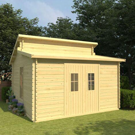 vidaXL Log Cabin with Floor 44 mm 415x415x322,1 cm Solid Pinewood