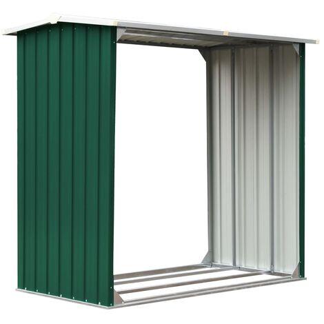 vidaXL Log Storage Shed Galvanised Steel 172x91x154 cm Green - Green
