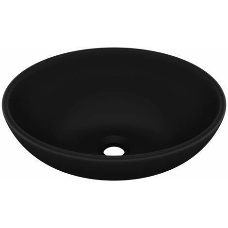 vidaXL Luxury Basin Oval-shaped Matt Black 40x33 cm Ceramic - Black