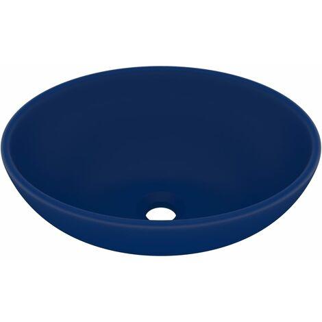 vidaXL Luxury Basin Oval-shaped Matt Dark Blue 40x33 cm Ceramic - Blue
