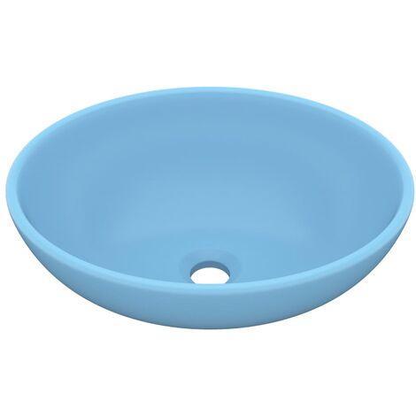 vidaXL Luxury Basin Oval-shaped Matt Light Blue 40x33 cm Ceramic - Blue