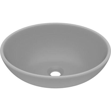 vidaXL Luxury Basin Oval-shaped Matt Light Grey 40x33 cm Ceramic - Grey