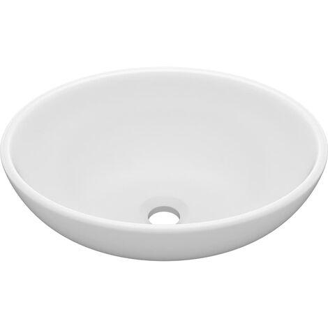 vidaXL Luxury Basin Oval-shaped Matt White 40x33 cm Ceramic - White
