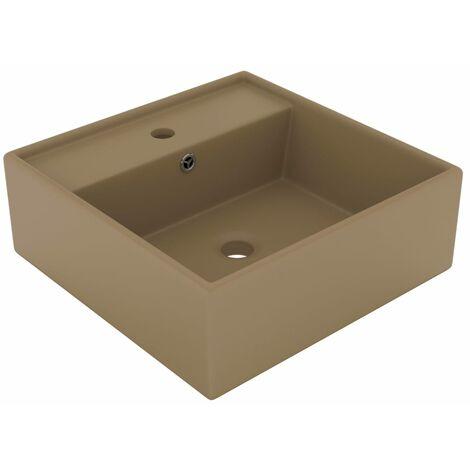vidaXL Luxury Basin Overflow Square Matt Cream 41x41 cm Ceramic - Cream