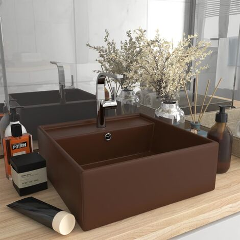 vidaXL Luxury Basin Overflow Square Matt Dark Brown 41x41 cm Ceramic - Brown
