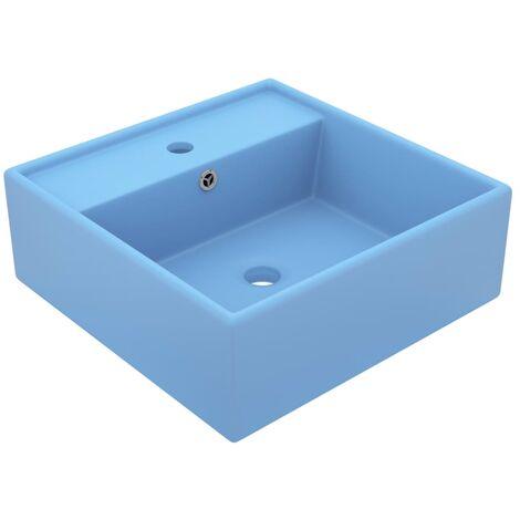 vidaXL Luxury Basin Overflow Square Matt Light Blue 41x41 cm Ceramic - Blue