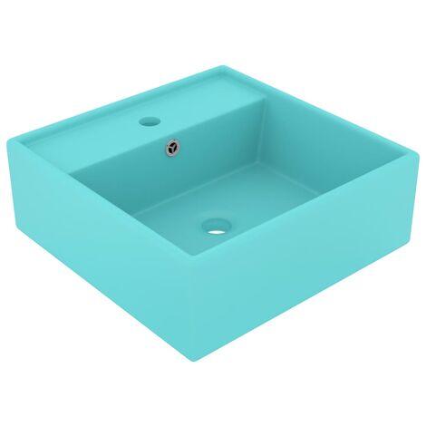 vidaXL Luxury Basin Overflow Square Matt Light Green 41x41 cm Ceramic - Green
