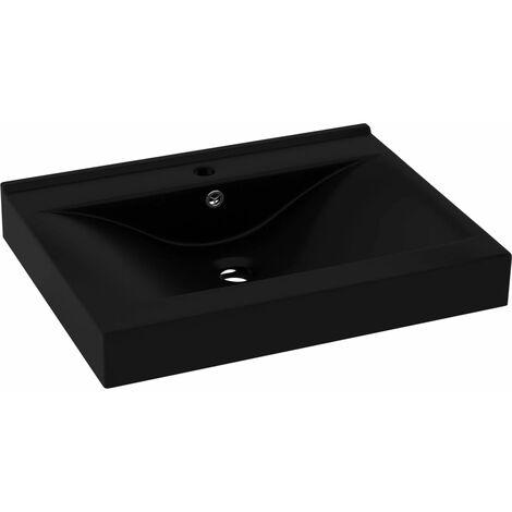 vidaXL Luxury Basin with Faucet Hole Matt Black 60x46 cm Ceramic - Black