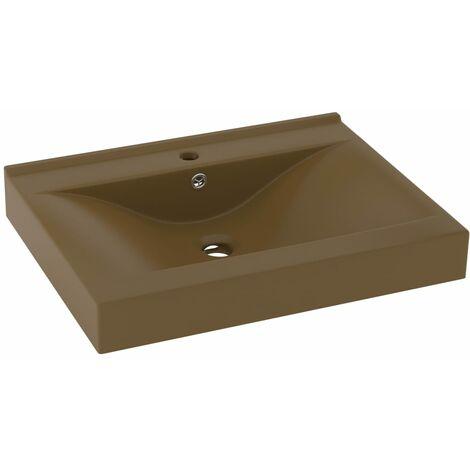 vidaXL Luxury Basin with Faucet Hole Matt Cream 60x46 cm Ceramic - Cream