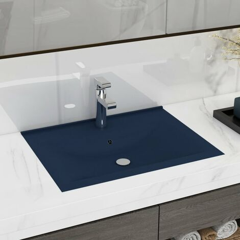 vidaXL Luxury Basin with Faucet Hole Matt Dark Blue 60x46 cm Ceramic - Blue