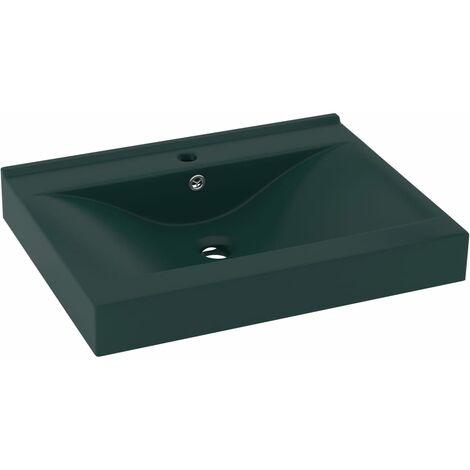 vidaXL Luxury Basin with Faucet Hole Matt Dark Green 60x46 cm Ceramic - Green
