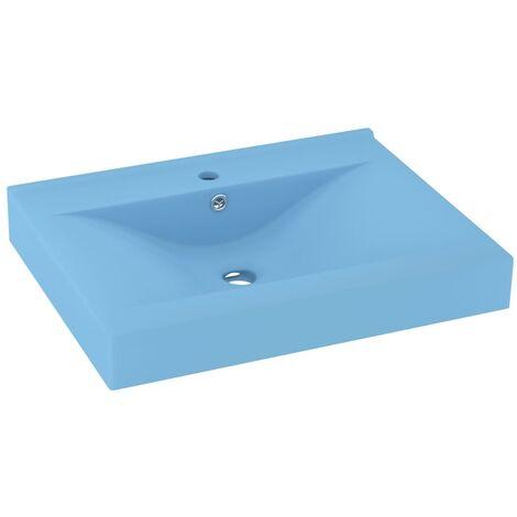 vidaXL Luxury Basin with Faucet Hole Matt Light Blue 60x46 cm Ceramic - Blue