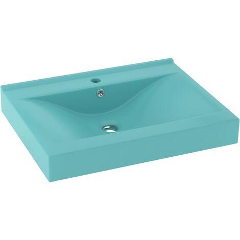 vidaXL Luxury Basin with Faucet Hole Matt Light Green 60x46 cm Ceramic - Green