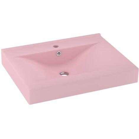 vidaXL Luxury Basin with Faucet Hole Matt Pink 60x46 cm Ceramic - Pink