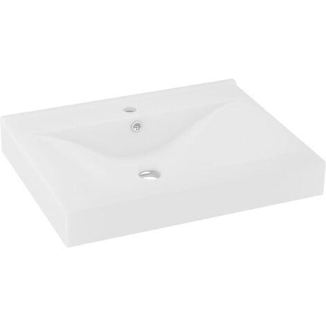vidaXL Luxury Basin with Faucet Hole Matt White 60x46 cm Ceramic - White