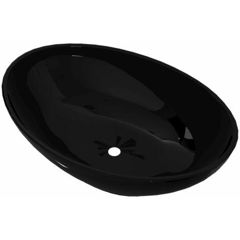 vidaXL Luxury Ceramic Basin Oval-shaped Sink Black 40 x 33 cm - Black