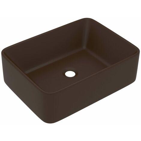 vidaXL Luxury Wash Basin Matt Dark Brown 41x30x12 cm Ceramic - Brown