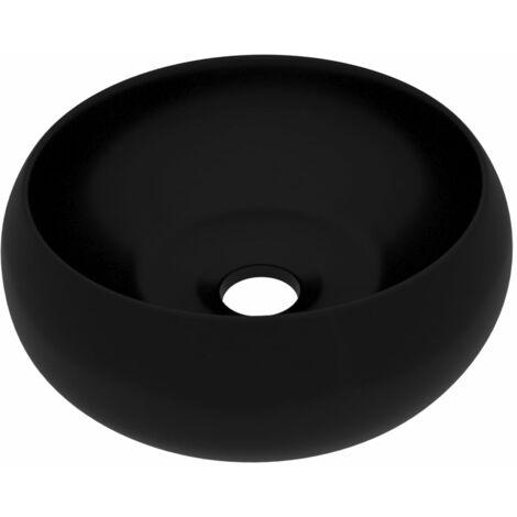 vidaXL Luxury Wash Basin Round Matt Black 40x15 cm Ceramic - Black