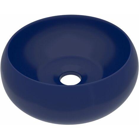 vidaXL Luxury Wash Basin Round Matt Dark Blue 40x15 cm Ceramic - Blue