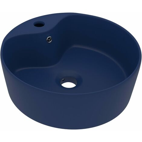 vidaXL Luxury Wash Basin with Overflow Matt Dark Blue 36x13 cm Ceramic - Blue