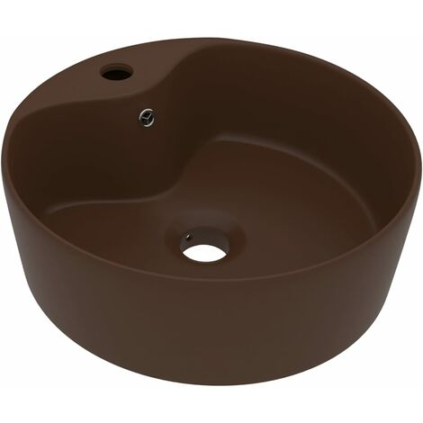 vidaXL Luxury Wash Basin with Overflow Matt Dark Brown 36x13 cm Ceramic - Brown