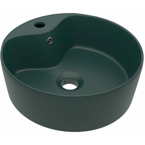 vidaXL Luxury Wash Basin with Overflow Matt Dark Green 36x13 cm Ceramic - Green