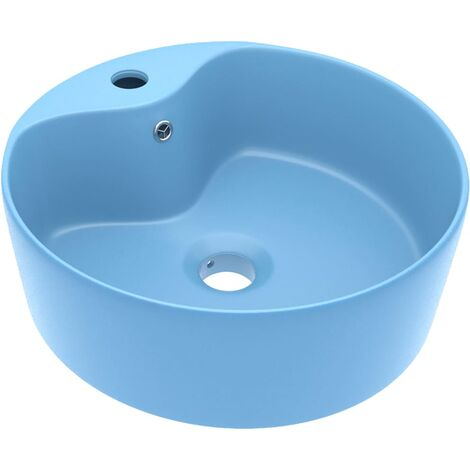 vidaXL Luxury Wash Basin with Overflow Matt Light Blue 36x13 cm Ceramic - Blue