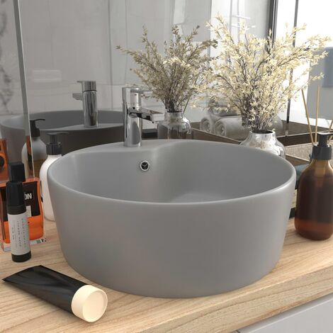 vidaXL Luxury Wash Basin with Overflow Matt Light Grey 36x13 cm Ceramic - Grey