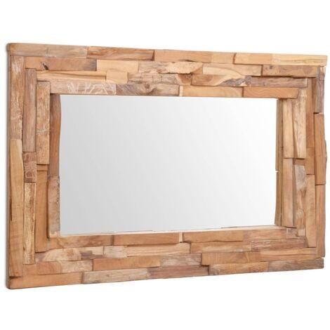 vidaXL Madera de Teca Espejo Decorativo Rústico Marrón Cuadrado/Rectangular