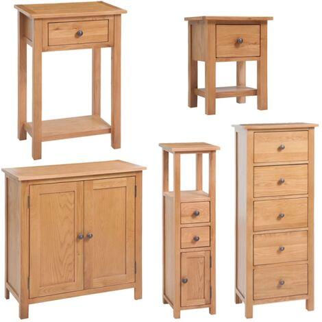 vidaXL Madera Maciza de Roble Conjunto de Muebles de Salón 5 Piezas Mesita de Noche Mueble de Esquina Mesa Consola Aparador Armario Entrada
