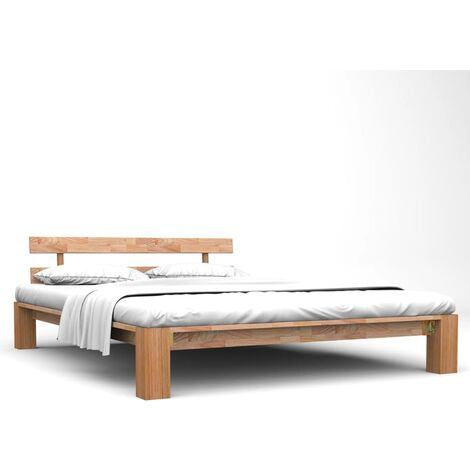 vidaXL Madera Maciza de Roble Estructura de Cama 160x200 cm - Marrón