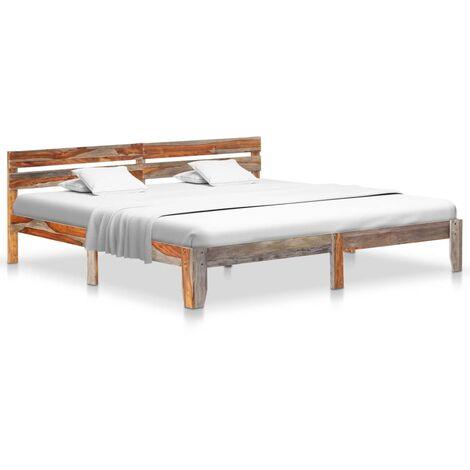 "main image of ""vidaXL Estructura de cama de madera maciza de sheesham 120x200 cm - Gris"""