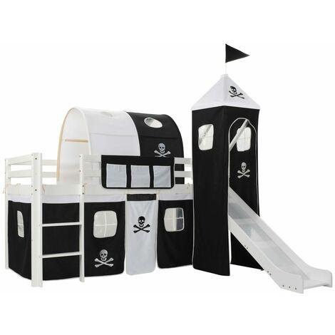vidaXL Madera Pino Cama Alta para Niños Tobogán y Escalera Infantil Dormitorio Habitación Dormir Elevada Protección Ambos Bordes 97x208 cm