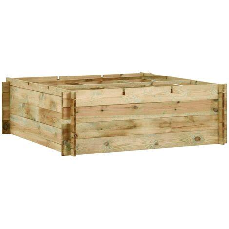 vidaXL Madera Pino Impregnada Jardinera para Verduras Maceta de Flores Planta Frutas Exterior Terraza Patio Porche 197x100x40cm/120x120x40 cm