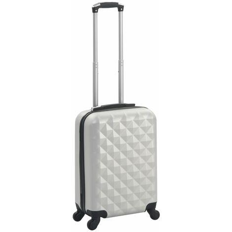 vidaXL Maleta con ruedas trolley rígida plateada brillante ABS - Plateado