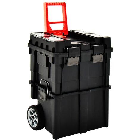 vidaXL Maleta trolley para herramientas con mango 46x36x41 cm - Negro
