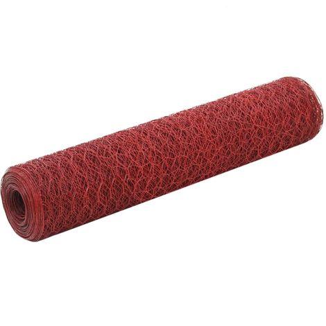 vidaXL Malla alambre hexagonal acero recubrimiento PVC 25x0,75 m rojo