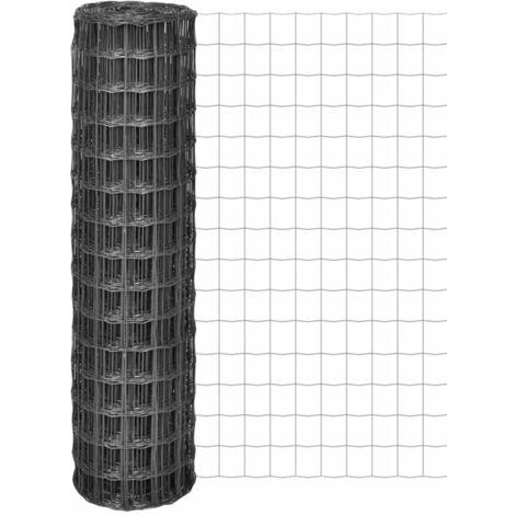 VidaXL Malla de acero Euro Fence gris 25x1,5 m/100x100 mm