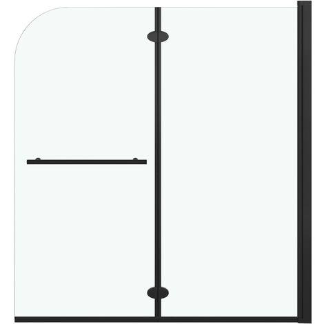 vidaXL Mampara de ducha plegable 2 paneles ESG negro 120x140 cm