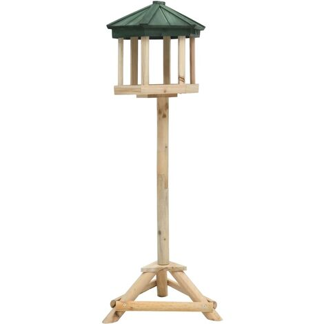 vidaXL Mangeoire à oiseaux sur pied Bois de sapin 33x106 cm