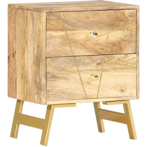 vidaXL Mangoholz Massiv Nachttisch mit 2 Schubladen Nachtschrank Nachtkommode Nachtkonsole Schlafzimmer Kommode Nachtschränkchen 40x30x50cm Schwarz/Messing