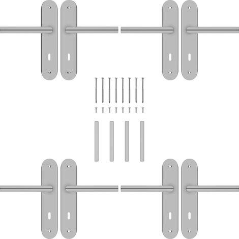 vidaXL Manilla de puerta 2 sets con pestillo BB acero inoxidable - Plateado