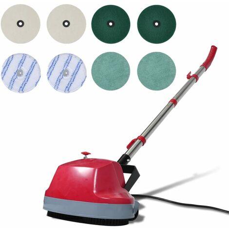 vidaXL Máquina limpiasuelos pulidora con cabezal doble 5 en 1 - Rojo